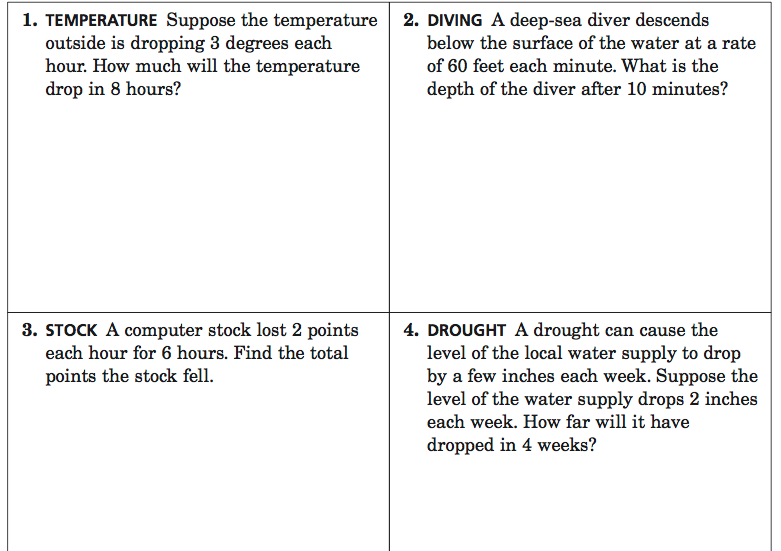 Integer Word Problems More Challenging Practice Questions – Multiplication of Integers Worksheets